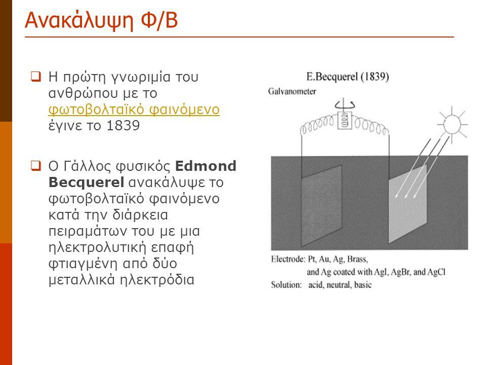 Ανακάλυψη Φ/Β  Η πρώτη γνωριμία του ανθρώπου με το φωτοβολταϊκό φαινόμενο έγινε το 1839 φωτοβολταϊκό φαινόμενο  Ο Γάλλος φυσικός Edmond Becquerel αν