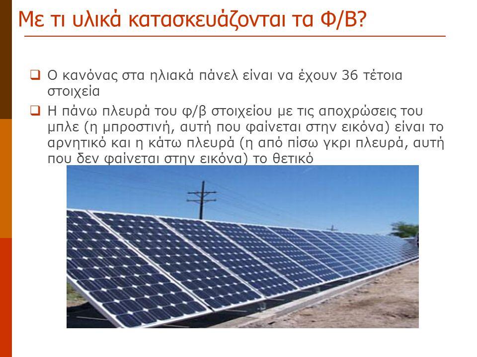 Με τι υλικά κατασκευάζονται τα Φ/Β?  Ο κανόνας στα ηλιακά πάνελ είναι να έχουν 36 τέτοια στοιχεία  Η πάνω πλευρά του φ/β στοιχείου με τις αποχρώσεις