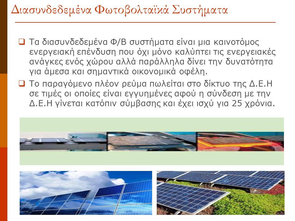  Τα διασυνδεδεμένα Φ/Β συστήματα είναι μια καινοτόμος ενεργειακή επένδυση που όχι μόνο καλύπτει τις ενεργειακές ανάγκες ενός χώρου αλλά παράλληλα δίν