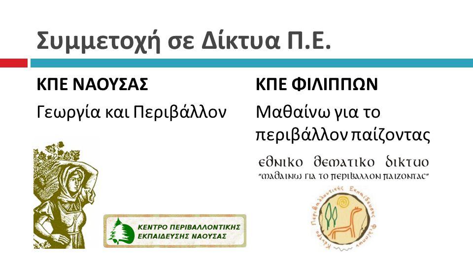 Συμμετοχή σε Δίκτυα Π. Ε. ΚΠΕ ΝΑΟΥΣΑΣ Γεωργία και Περιβάλλον ΚΠΕ ΦΙΛΙΠΠΩΝ Μαθαίνω για το περιβάλλον παίζοντας