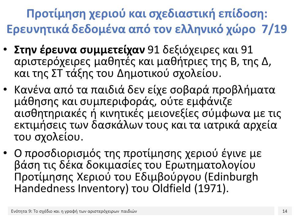 14 Ενότητα 9: Το σχέδιο και η γραφή των αριστερόχειρων παιδιών Προτίμηση χεριού και σχεδιαστική επίδοση: Ερευνητικά δεδομένα από τον ελληνικό χώρο 7/19 Στην έρευνα συμμετείχαν 91 δεξιόχειρες και 91 αριστερόχειρες μαθητές και μαθήτριες της Β, της Δ, και της ΣΤ τάξης του Δημοτικού σχολείου.