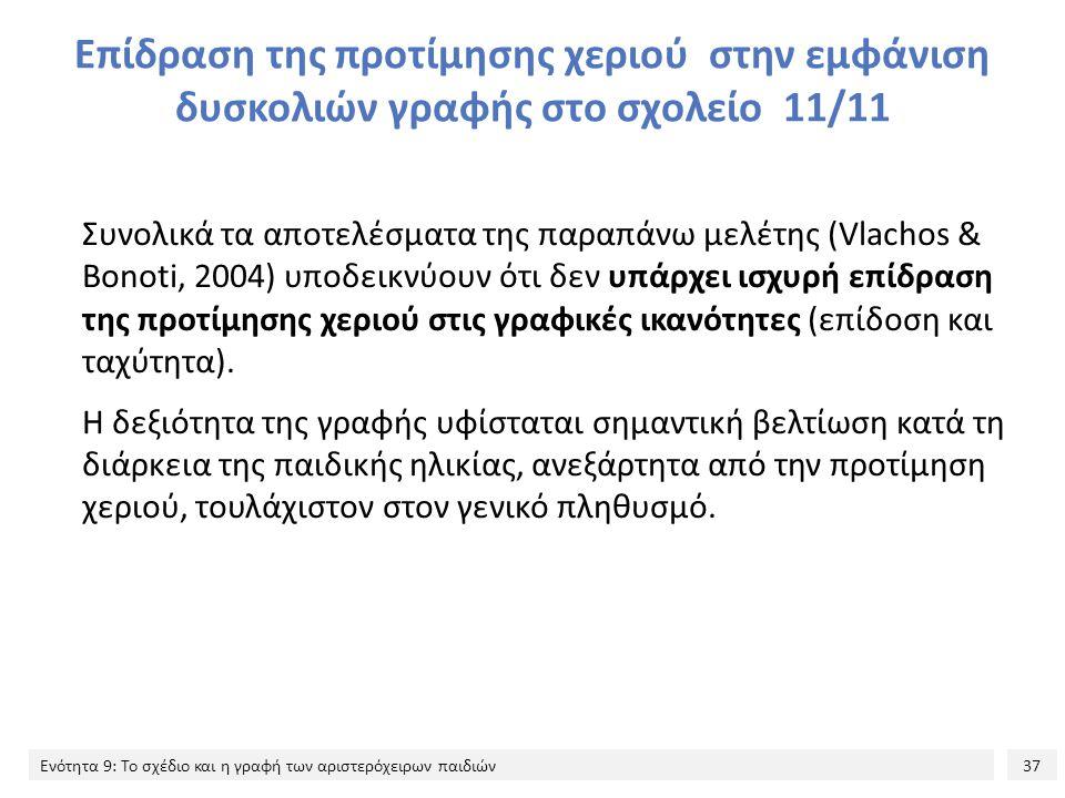 37 Ενότητα 9: Το σχέδιο και η γραφή των αριστερόχειρων παιδιών Επίδραση της προτίμησης χεριού στην εμφάνιση δυσκολιών γραφής στο σχολείο 11/11 Συνολικά τα αποτελέσματα της παραπάνω μελέτης (Vlachos & Bonoti, 2004) υποδεικνύουν ότι δεν υπάρχει ισχυρή επίδραση της προτίμησης χεριού στις γραφικές ικανότητες (επίδοση και ταχύτητα).