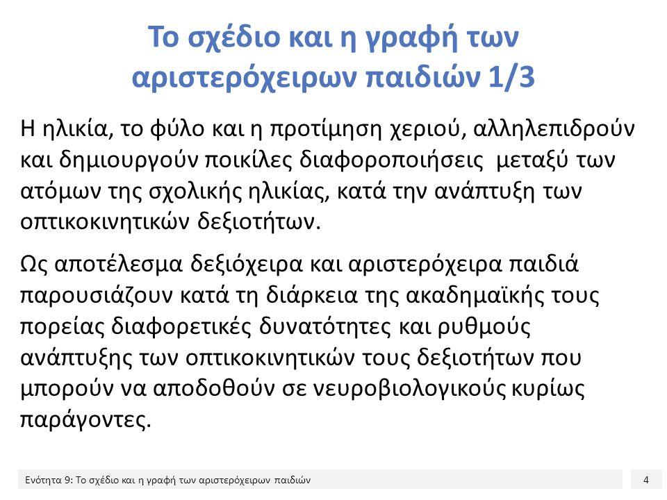 15 Ενότητα 9: Το σχέδιο και η γραφή των αριστερόχειρων παιδιών Προτίμηση χεριού και σχεδιαστική επίδοση: Ερευνητικά δεδομένα από τον ελληνικό χώρο 8/19