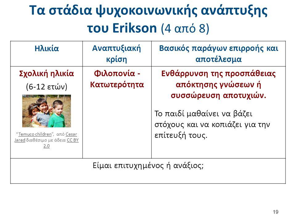 Τα στάδια ψυχοκοινωνικής ανάπτυξης του Erikson (4 από 8) 19 ΗλικίαΑναπτυξιακή κρίση Βασικός παράγων επιρροής και αποτέλεσμα Σχολική ηλικία (6-12 ετών) Φιλοπονία - Κατωτερότητα Ενθάρρυνση της προσπάθειας απόκτησης γνώσεων ή συσσώρευση αποτυχιών.