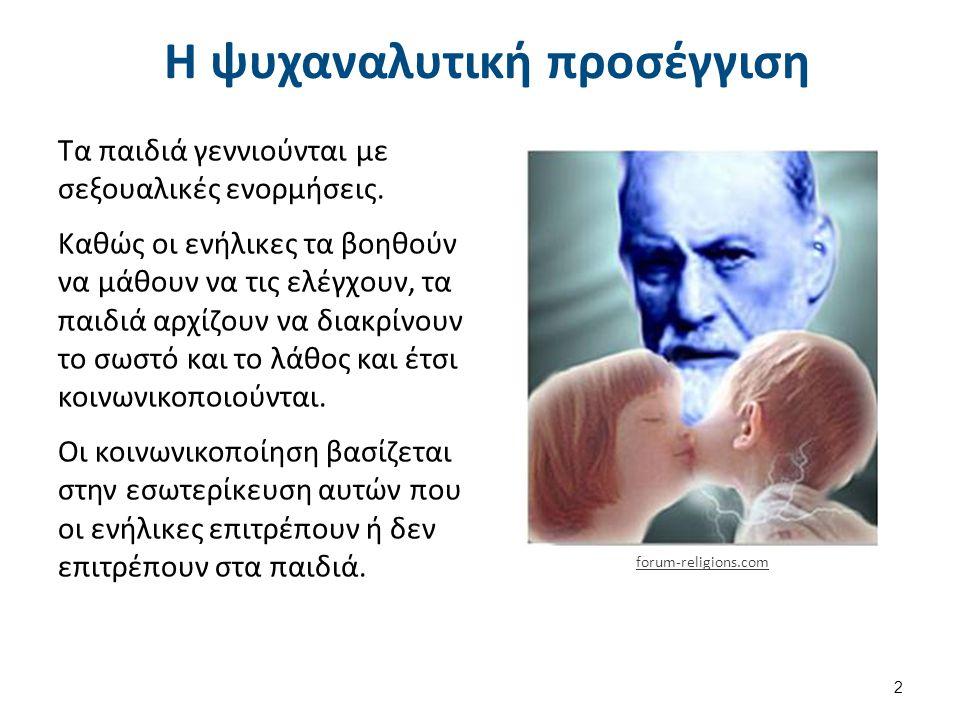 Η ψυχαναλυτική προσέγγιση Τα παιδιά γεννιούνται με σεξουαλικές ενορμήσεις.
