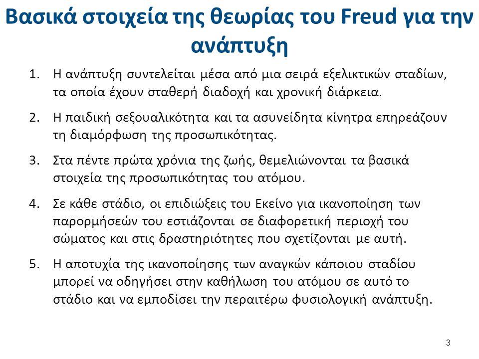 Βασικά στοιχεία της θεωρίας του Freud για την ανάπτυξη 1.Η ανάπτυξη συντελείται μέσα από μια σειρά εξελικτικών σταδίων, τα οποία έχουν σταθερή διαδοχή και χρονική διάρκεια.