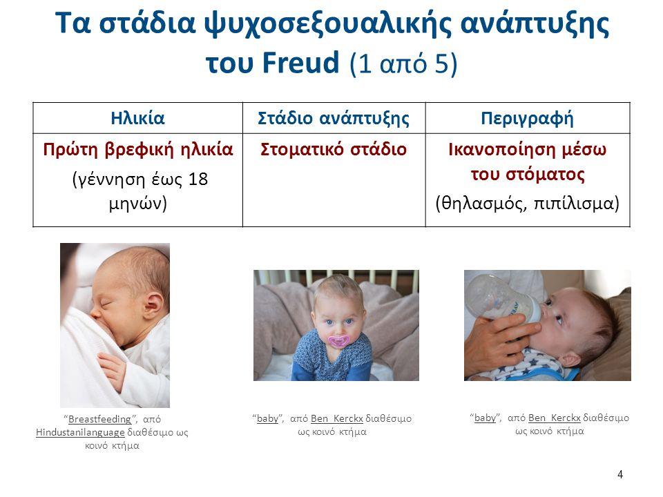 Τα στάδια ψυχοσεξουαλικής ανάπτυξης του Freud (1 από 5) ΗλικίαΣτάδιο ανάπτυξηςΠεριγραφή Πρώτη βρεφική ηλικία (γέννηση έως 18 μηνών) Στοματικό στάδιοΙκανοποίηση μέσω του στόματος (θηλασμός, πιπίλισμα) 4 Breastfeeding , από Hindustanilanguage διαθέσιμο ως κοινό κτήμαBreastfeeding Hindustanilanguage baby , από Ben_Kerckx διαθέσιμο ως κοινό κτήμαbabyBen_Kerckx baby , από Ben_Kerckx διαθέσιμο ως κοινό κτήμαbabyBen_Kerckx