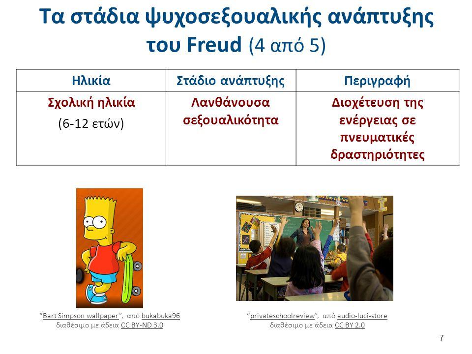 Τα στάδια ψυχοσεξουαλικής ανάπτυξης του Freud (4 από 5) 7 ΗλικίαΣτάδιο ανάπτυξηςΠεριγραφή Σχολική ηλικία (6-12 ετών) Λανθάνουσα σεξουαλικότητα Διοχέτευση της ενέργειας σε πνευματικές δραστηριότητες Bart Simpson wallpaper , από bukabuka96 διαθέσιμο με άδεια CC BY-ND 3.0Bart Simpson wallpaperbukabuka96CC BY-ND 3.0 privateschoolreview , από audio-luci-store διαθέσιμο με άδεια CC BY 2.0privateschoolreviewaudio-luci-storeCC BY 2.0