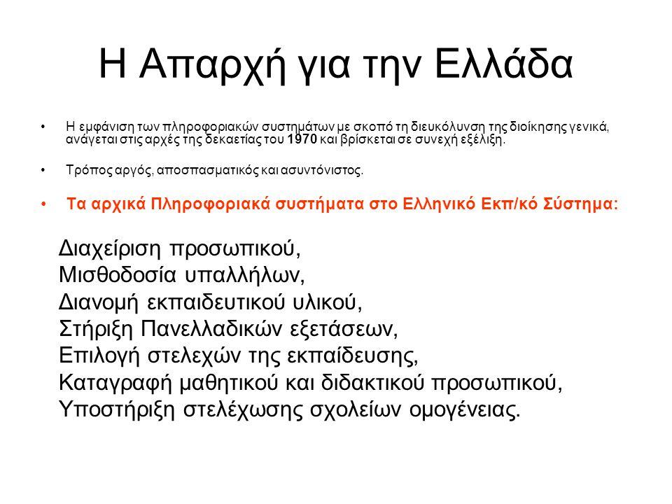 Η Απαρχή για την Ελλάδα Η εμφάνιση των πληροφοριακών συστημάτων με σκοπό τη διευκόλυνση της διοίκησης γενικά, ανάγεται στις αρχές της δεκαετίας του 1970 και βρίσκεται σε συνεχή εξέλιξη.