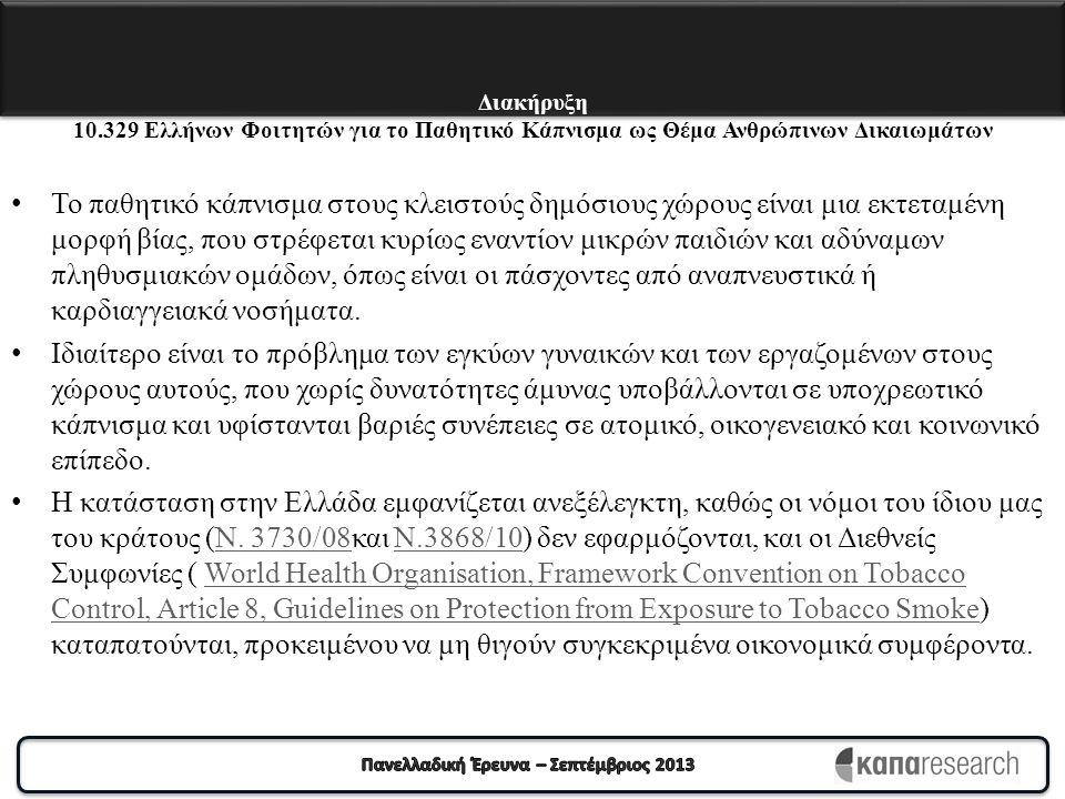 Διακήρυξη 10.329 Ελλήνων Φοιτητών για το Παθητικό Κάπνισμα ως Θέμα Ανθρώπινων Δικαιωμάτων Το παθητικό κάπνισμα στους κλειστούς δημόσιους χώρους είναι μια εκτεταμένη μορφή βίας, που στρέφεται κυρίως εναντίον μικρών παιδιών και αδύναμων πληθυσμιακών ομάδων, όπως είναι οι πάσχοντες από αναπνευστικά ή καρδιαγγειακά νοσήματα.