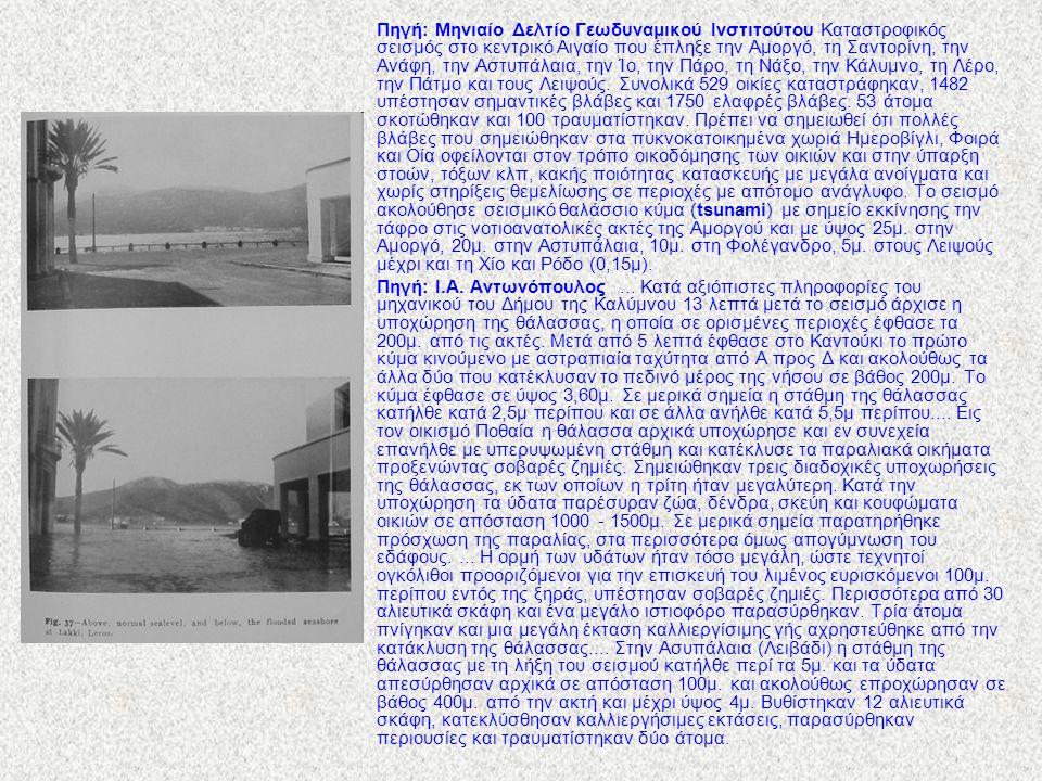 Πηγή: Μηνιαίο Δελτίο Γεωδυναμικού Ινστιτούτου Καταστροφικός σεισμός στο κεντρικό Αιγαίο που έπληξε την Αμοργό, τη Σαντορίνη, την Ανάφη, την Αστυπάλαια, την Ίο, την Πάρο, τη Νάξο, την Κάλυμνο, τη Λέρο, την Πάτμο και τους Λειψούς.