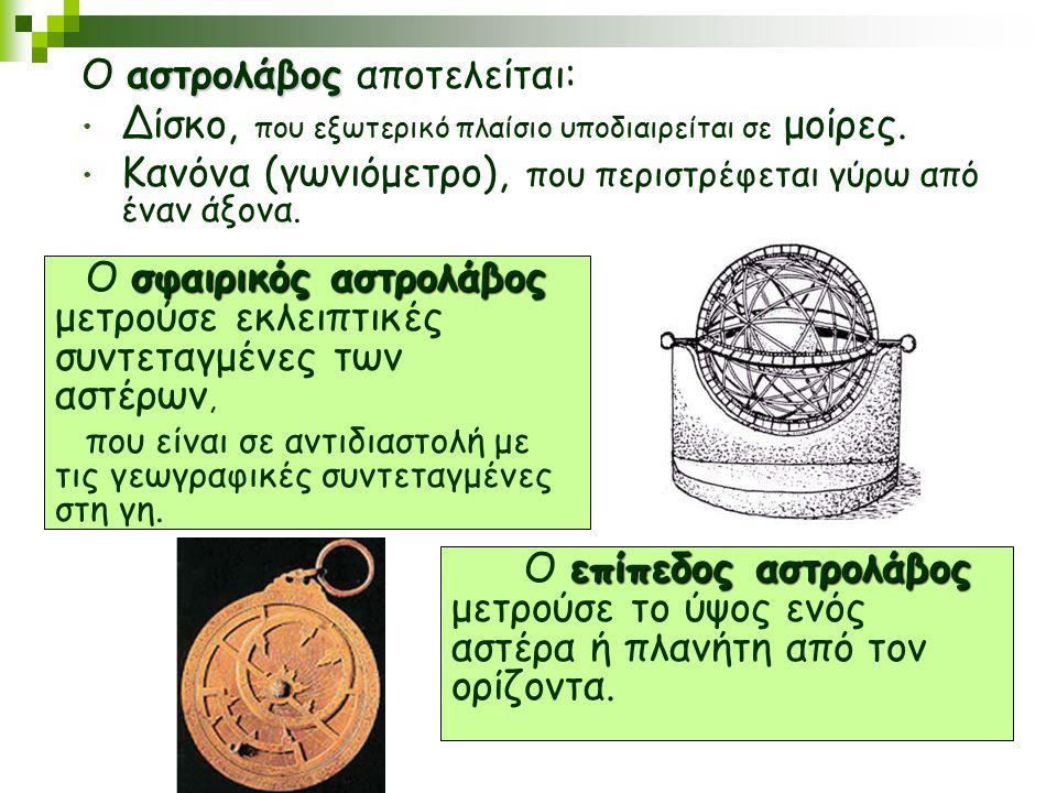 αστρολάβος Ο αστρολάβος αποτελείται: Δίσκο, που εξωτερικό πλαίσιο υποδιαιρείται σε μοίρες. Κανόνα (γωνιόμετρο), που περιστρέφεται γύρω από έναν άξονα.