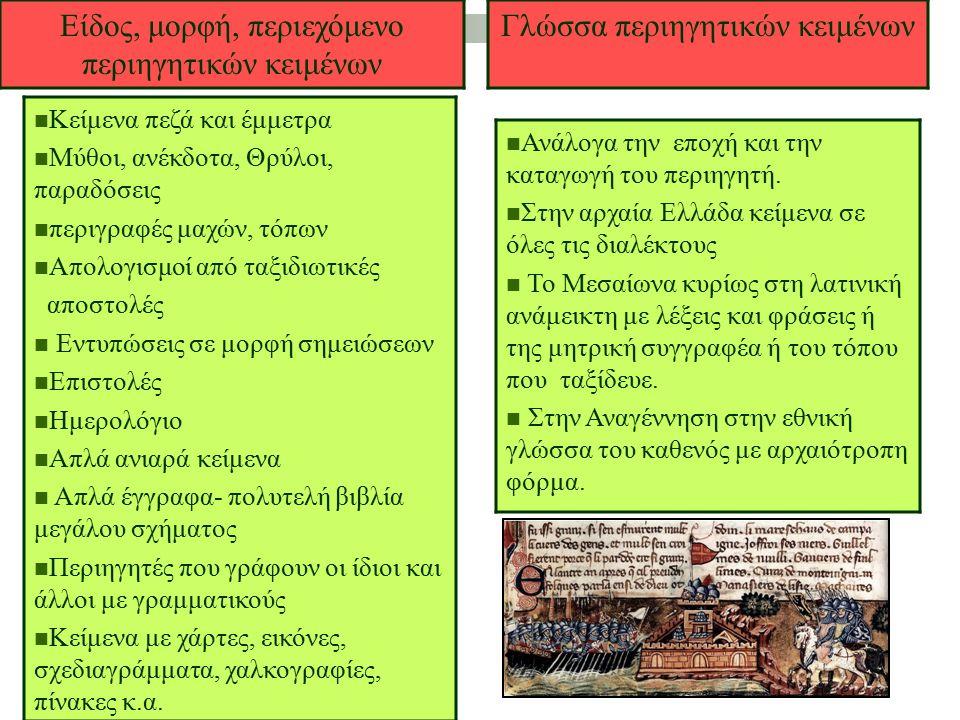 Είδος, μορφή, περιεχόμενο περιηγητικών κειμένων Κείμενα πεζά και έμμετρα Μύθοι, ανέκδοτα, Θρύλοι, παραδόσεις περιγραφές μαχών, τόπων Απολογισμοί από τ