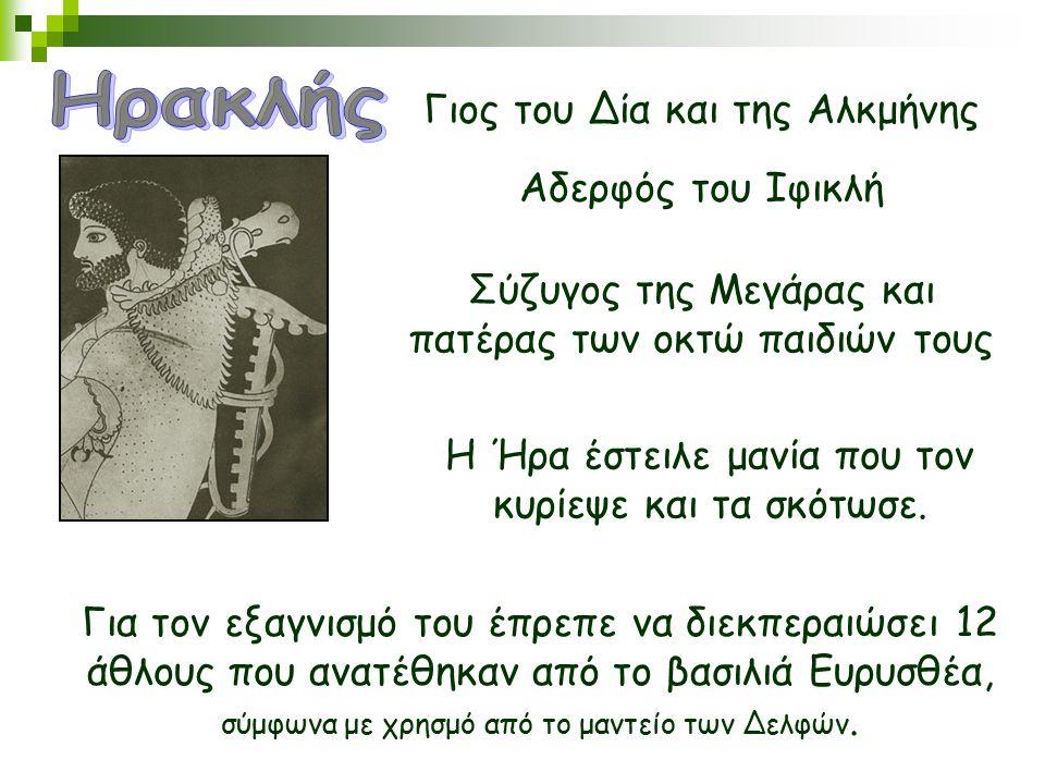 Γιος του Δία και της Αλκμήνης Αδερφός του Ιφικλή Σύζυγος της Μεγάρας και πατέρας των οκτώ παιδιών τους Η Ήρα έστειλε μανία που τον κυρίεψε και τα σκότ