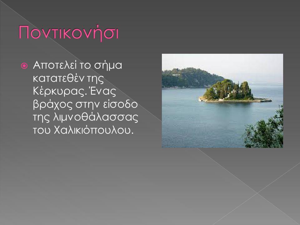  Αποτελεί το σήμα κατατεθέν της Κέρκυρας. Ένας βράχος στην είσοδο της λιμνοθάλασσας του Χαλικιόπουλου.