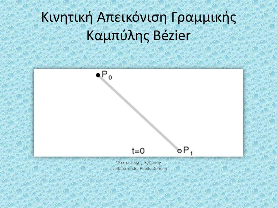 """Κινητική Απεικόνιση Γραμμικής Καμπύλης Bézier """"Bezier 1 big"""", byTwirlip available under Public DomainBezier 1 bigTwirlip"""