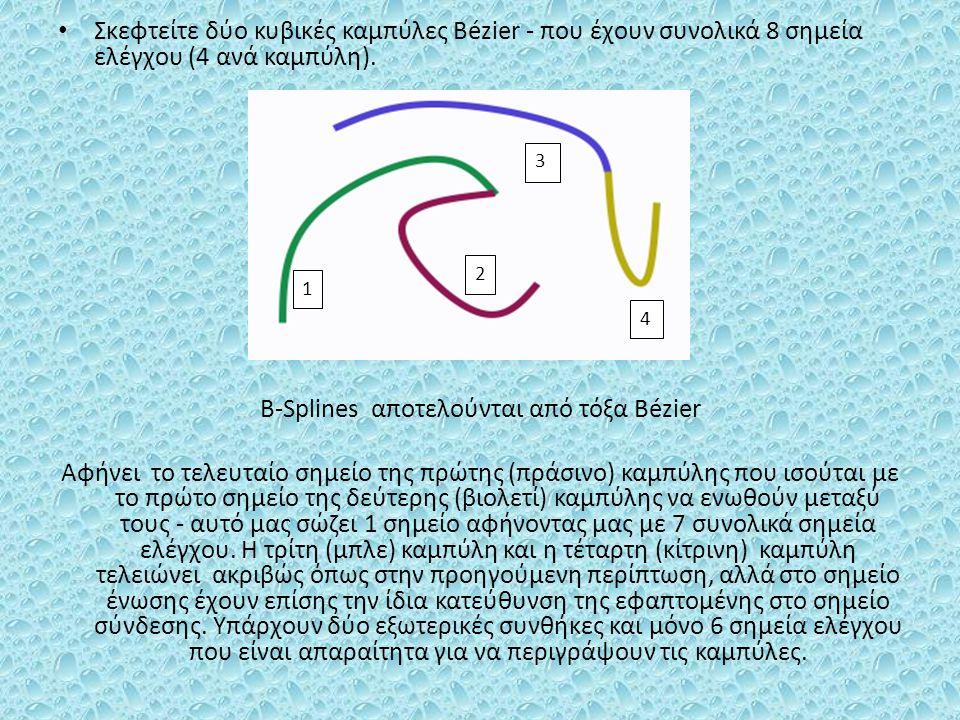 Σκεφτείτε δύο κυβικές καμπύλες Bézier - που έχουν συνολικά 8 σημεία ελέγχου (4 ανά καμπύλη). B-Splines αποτελούνται από τόξα Bézier Αφήνει το τελευταί