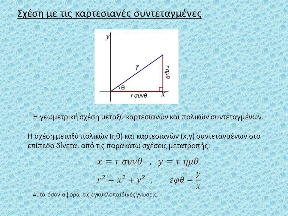 Σχέση με τις καρτεσιανές συντεταγμένες Η γεωμετρική σχέση μεταξύ καρτεσιανών και πολικών συντεταγμένων. Η σχέση μεταξύ πολικών (r,θ) και καρτεσιανών (