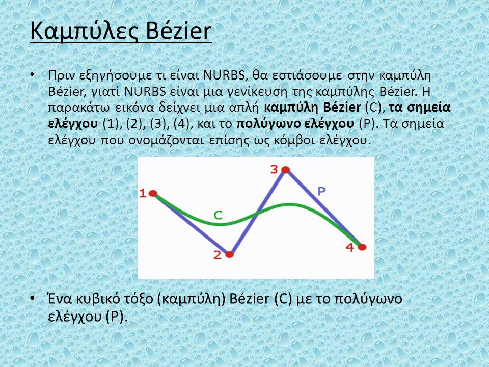Καμπύλες Bézier Πριν εξηγήσουμε τι είναι NURBS, θα εστιάσουμε στην καμπύλη Bézier, γιατί NURBS είναι μια γενίκευση της καμπύλης Bézier. Η παρακάτω εικ