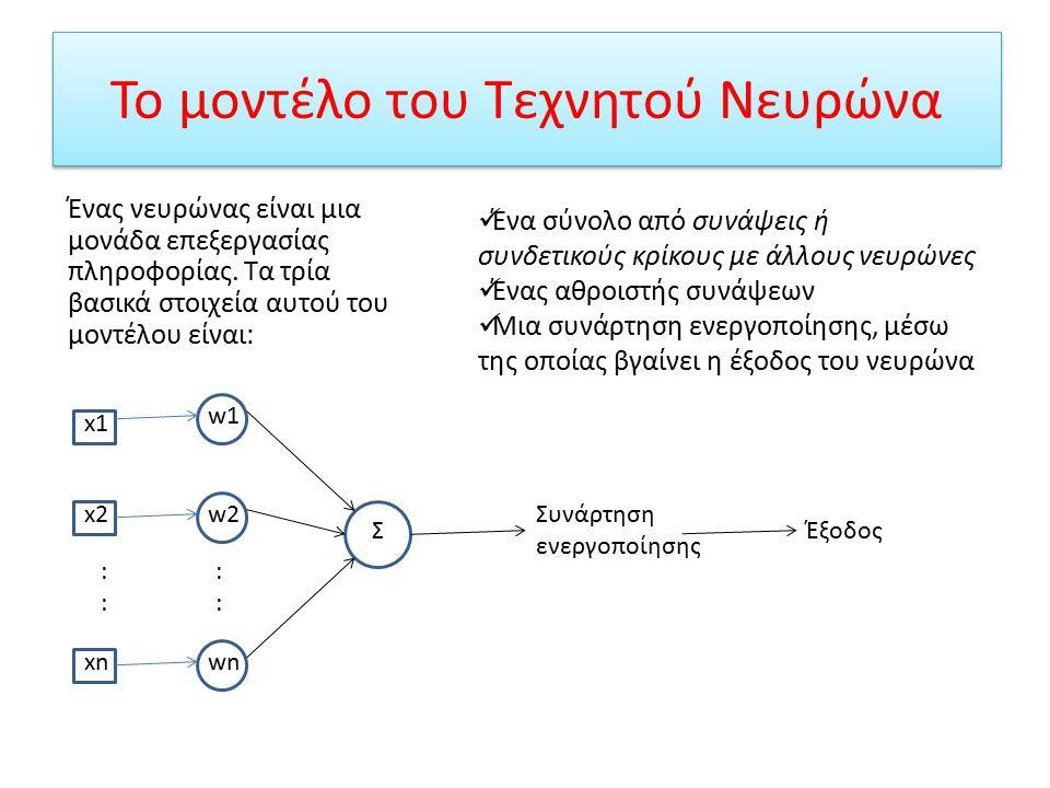 Διαφορές Συμβατικών Υπολογιστών με Νευρωνικά Δίκτυα Νευρωνικά Δίκτυα  Επεξεργάζονται την πληροφορία, όπως ο ανθρώπινος εγκέφαλος  Εκπαιδεύονται με ένα σύνολο παραδειγμάτων παρόμοιων του προβλήματος και το επιλύουν με τον ίδιο τρόπο  Τα αποτελέσματά τους είναι μη προβλέψιμα Συμβατικοί Υπολογιστές  Χρησιμοποιούν αλγοριθμική προσέγγιση  Πρέπει να γνωρίζουν τον τρόπο υλοποίησης κάθε προβλήματος για να το λύσουν  Τα αποτελέσματά τους είναι προβλέψιμα