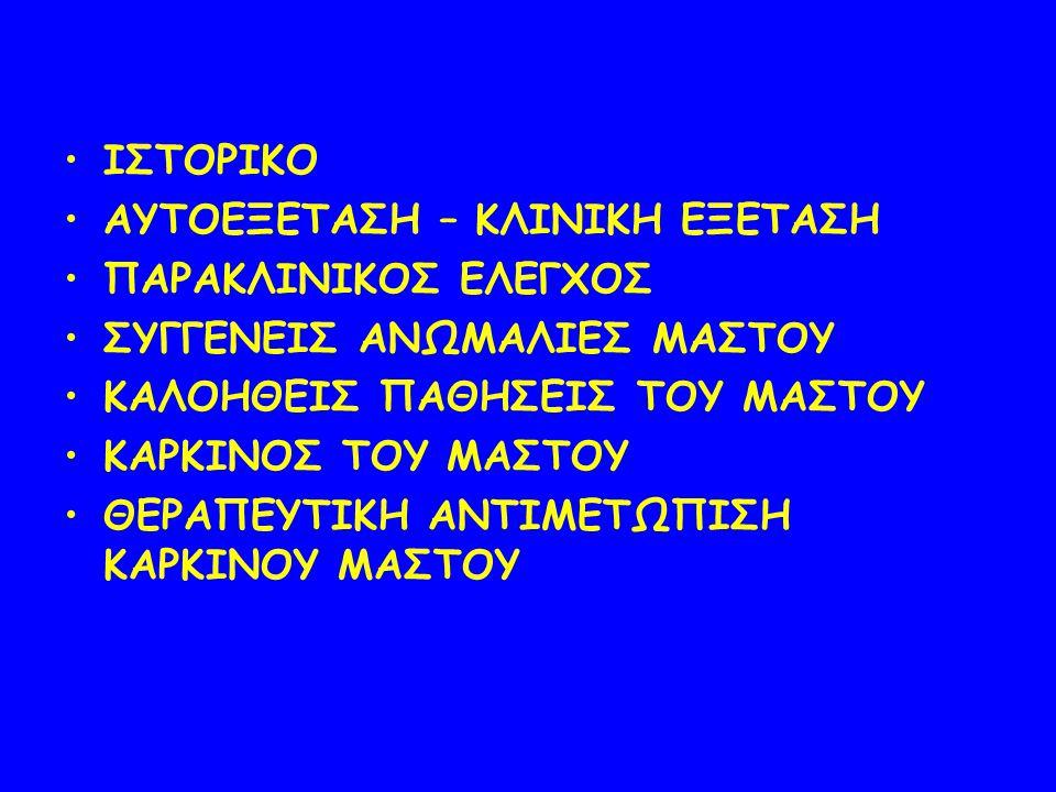 ΙΣΤΟΡΙΚΟ ΑΥΤΟΕΞΕΤΑΣΗ – ΚΛΙΝΙΚΗ ΕΞΕΤΑΣΗ ΠΑΡΑΚΛΙΝΙΚΟΣ ΕΛΕΓΧΟΣ ΣΥΓΓΕΝΕΙΣ ΑΝΩΜΑΛΙΕΣ ΜΑΣΤΟΥ ΚΑΛΟΗΘΕΙΣ ΠΑΘΗΣΕΙΣ ΤΟΥ ΜΑΣΤΟΥ ΚΑΡΚΙΝΟΣ ΤΟΥ ΜΑΣΤΟΥ ΘΕΡΑΠΕΥΤΙΚΗ Α