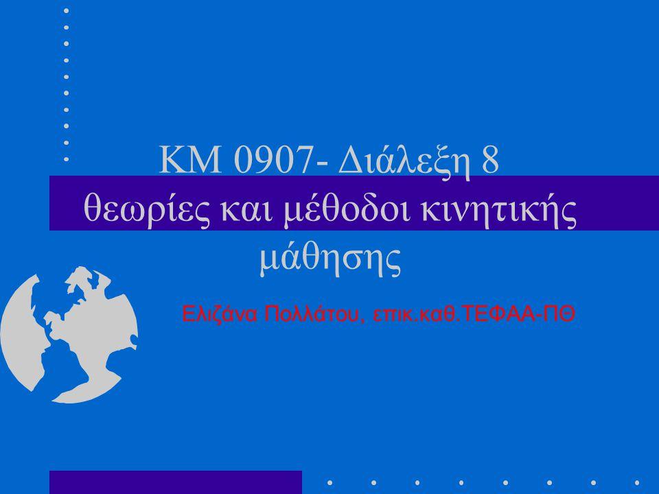 KM 0907- Διάλεξη 8 θεωρίες και μέθοδοι κινητικής μάθησης Ελιζάνα Πολλάτου, επικ.καθ.ΤΕΦΑΑ-ΠΘ