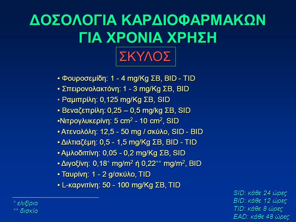 ΔΟΣΟΛΟΓΙΑ ΚΑΡΔΙΟΦΑΡΜΑΚΩΝ ΓΙΑ ΧΡΟΝΙΑ ΧΡΗΣΗ ΣΚΥΛΟΣ Φουροσεμίδη: 1 - 4 mg/Kg ΣΒ, BID - TID Φουροσεμίδη: 1 - 4 mg/Kg ΣΒ, BID - TID Σπειρονολακτόνη: 1 - 3 mg/Kg ΣΒ, BID Σπειρονολακτόνη: 1 - 3 mg/Kg ΣΒ, BID Ραμιπρίλη: 0,125 mg/Kg ΣΒ, SID Ραμιπρίλη: 0,125 mg/Kg ΣΒ, SID Βεναζεπρίλη: 0,25 – 0,5 mg/kg ΣΒ, SID Βεναζεπρίλη: 0,25 – 0,5 mg/kg ΣΒ, SID Νιτρογλυκερίνη: 5 cm 2 - 10 cm 2, SIDΝιτρογλυκερίνη: 5 cm 2 - 10 cm 2, SID Ατενολόλη: 12,5 - 50 mg / σκύλο, SID - BID Ατενολόλη: 12,5 - 50 mg / σκύλο, SID - BID Διλτιαζέμη: 0,5 - 1,5 mg/Kg ΣΒ, BID - TID Διλτιαζέμη: 0,5 - 1,5 mg/Kg ΣΒ, BID - TID Αμλοδιπίνη: 0,05 - 0,2 mg/Kg ΣΒ, SID Αμλοδιπίνη: 0,05 - 0,2 mg/Kg ΣΒ, SID Διγοξίνη: 0,18* mg/m 2 ή 0,22** mg/m 2, BID Διγοξίνη: 0,18* mg/m 2 ή 0,22** mg/m 2, BID Ταυρίνη: 1 - 2 g/σκύλο, TID Ταυρίνη: 1 - 2 g/σκύλο, TID L-καρνιτίνη: 50 - 100 mg/Kg ΣΒ, TID L-καρνιτίνη: 50 - 100 mg/Kg ΣΒ, TID * ελιξίριο ** δισκίο SID: κάθε 24 ώρες BID: κάθε 12 ώρες TID: κάθε 8 ώρες EAD: κάθε 48 ώρες