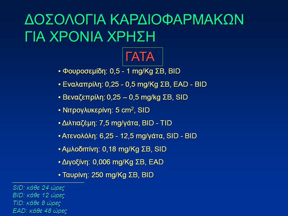 ΓΑΤΑ Φουροσεμίδη: 0,5 - 1 mg/Kg ΣΒ, BID Φουροσεμίδη: 0,5 - 1 mg/Kg ΣΒ, BID Εναλαπρίλη: 0,25 - 0,5 mg/Kg ΣΒ, EAD - BID Εναλαπρίλη: 0,25 - 0,5 mg/Kg ΣΒ, EAD - BID Βεναζεπρίλη: 0,25 – 0,5 mg/kg ΣΒ, SID Βεναζεπρίλη: 0,25 – 0,5 mg/kg ΣΒ, SID Νιτρογλυκερίνη: 5 cm 2, SID Νιτρογλυκερίνη: 5 cm 2, SID Διλτιαζέμη: 7,5 mg/γάτα, BID - TID Διλτιαζέμη: 7,5 mg/γάτα, BID - TID Ατενολόλη: 6,25 - 12,5 mg/γάτα, SID - BID Ατενολόλη: 6,25 - 12,5 mg/γάτα, SID - BID Αμλοδιπίνη: 0,18 mg/Kg ΣΒ, SID Αμλοδιπίνη: 0,18 mg/Kg ΣΒ, SID Διγοξίνη: 0,006 mg/Kg ΣΒ, EAD Διγοξίνη: 0,006 mg/Kg ΣΒ, EAD Ταυρίνη: 250 mg/Κg ΣΒ, BID Ταυρίνη: 250 mg/Κg ΣΒ, BID ΔΟΣΟΛΟΓΙΑ ΚΑΡΔΙΟΦΑΡΜΑΚΩΝ ΓΙΑ ΧΡΟΝΙΑ ΧΡΗΣΗ SID: κάθε 24 ώρες BID: κάθε 12 ώρες TID: κάθε 8 ώρες EAD: κάθε 48 ώρες