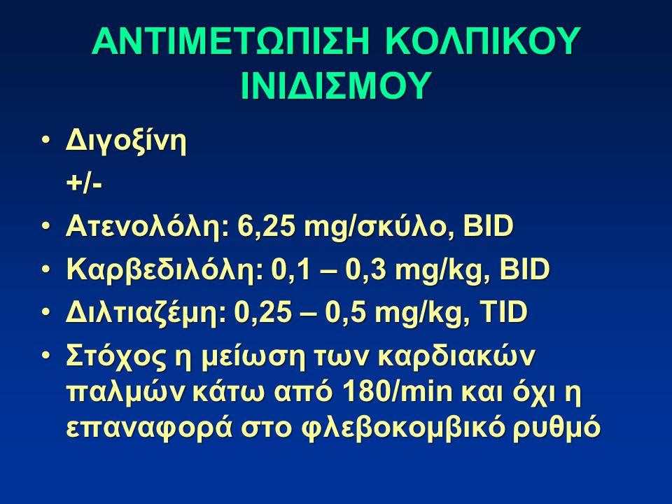 ΑΝΤΙΜΕΤΩΠΙΣΗ ΚΟΛΠΙΚΟΥ ΙΝΙΔΙΣΜΟΥ ΔιγοξίνηΔιγοξίνη+/- Ατενολόλη: 6,25 mg/σκύλο, BIDΑτενολόλη: 6,25 mg/σκύλο, BID Καρβεδιλόλη: 0,1 – 0,3 mg/kg, BIDΚαρβεδιλόλη: 0,1 – 0,3 mg/kg, BID Διλτιαζέμη: 0,25 – 0,5 mg/kg, TIDΔιλτιαζέμη: 0,25 – 0,5 mg/kg, TID Στόχος η μείωση των καρδιακών παλμών κάτω από 180/min και όχι η επαναφορά στο φλεβοκομβικό ρυθμόΣτόχος η μείωση των καρδιακών παλμών κάτω από 180/min και όχι η επαναφορά στο φλεβοκομβικό ρυθμό