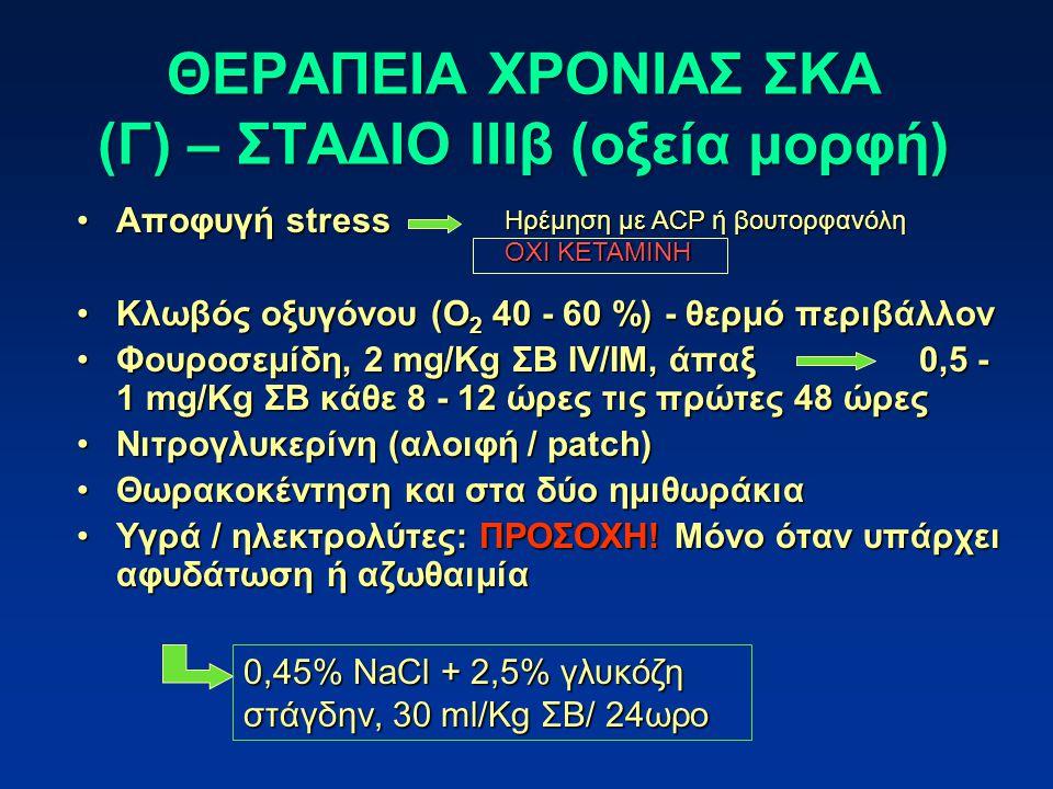 Αποφυγή stressΑποφυγή stress Κλωβός οξυγόνου (O 2 40 - 60 %) - θερμό περιβάλλονΚλωβός οξυγόνου (O 2 40 - 60 %) - θερμό περιβάλλον Φουροσεμίδη, 2 mg/Kg ΣΒ ΙV/ΙΜ, άπαξ0,5 - 1 mg/Kg ΣΒ κάθε 8 - 12 ώρες τις πρώτες 48 ώρεςΦουροσεμίδη, 2 mg/Kg ΣΒ ΙV/ΙΜ, άπαξ0,5 - 1 mg/Kg ΣΒ κάθε 8 - 12 ώρες τις πρώτες 48 ώρες Νιτρογλυκερίνη (αλοιφή / patch)Νιτρογλυκερίνη (αλοιφή / patch) Θωρακοκέντηση και στα δύο ημιθωράκιαΘωρακοκέντηση και στα δύο ημιθωράκια Υγρά / ηλεκτρολύτες: ΠΡΟΣΟΧΗ.