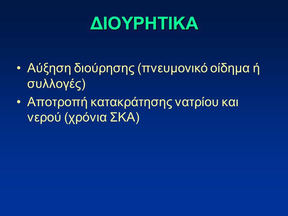 ΔΙΟΥΡΗΤΙΚΑ Αύξηση διούρησης (πνευμονικό οίδημα ή συλλογές) Αποτροπή κατακράτησης νατρίου και νερού (χρόνια ΣΚΑ)
