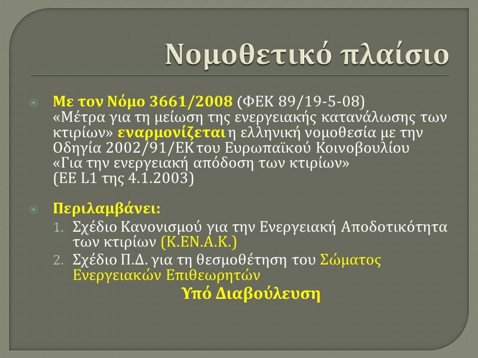  Με τον Νόμο 3661/2008 ( ΦΕΚ 89/19-5-08) « Μέτρα για τη μείωση της ενεργειακής κατανάλωσης των κτιρίων » εναρμονίζεται η ελληνική νομοθεσία με την Οδ