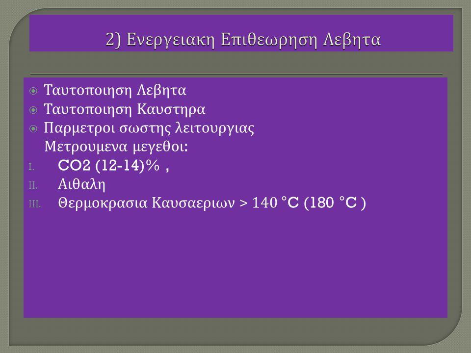  Ταυτοποιηση Λεβητα  Ταυτοποιηση Καυστηρα  Παρμετροι σωστης λειτουργιας Μετρουμενα μεγεθοι : I. CO2 (12-14)%, II. Αιθαλη III. Θερμοκρασια Καυσαεριω