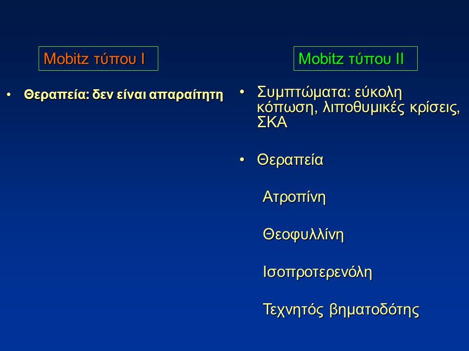 Θεραπεία: δεν είναι απαραίτητηΘεραπεία: δεν είναι απαραίτητη Συμπτώματα: εύκολη κόπωση, λιποθυμικές κρίσεις, ΣΚΑΣυμπτώματα: εύκολη κόπωση, λιποθυμικές κρίσεις, ΣΚΑ ΘεραπείαΘεραπείαΑτροπίνηΘεοφυλλίνηΙσοπροτερενόλη Τεχνητός βηματοδότης Mobitz τύπου Ι Mobitz τύπου ΙΙ