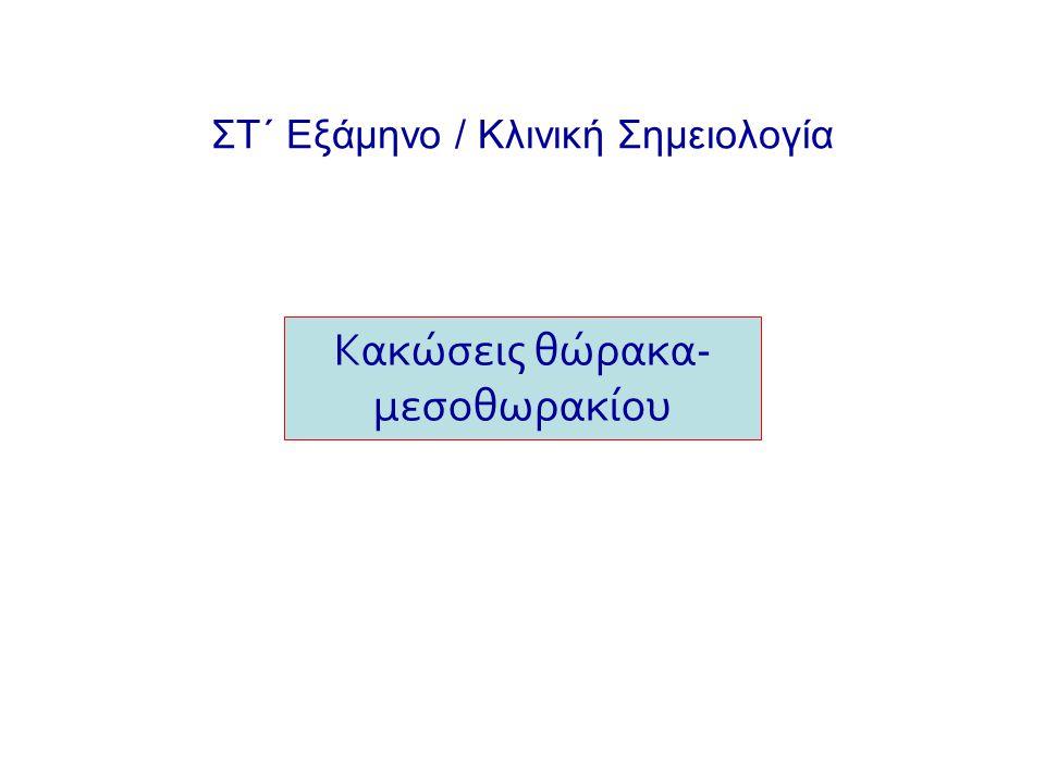 Κακώσεις θωρακικού τοιχώματος - Συμπτώματα: άλγος - Ευρήματα: επισκόπηση παράδοξη αναπνοή, κυάνωση, ταχύπνοια ακρόαση ↓αναπνευστικού ψιθυρίσματος ψηλάφηση ταχυκαρδία Χαλαρός θώρακας