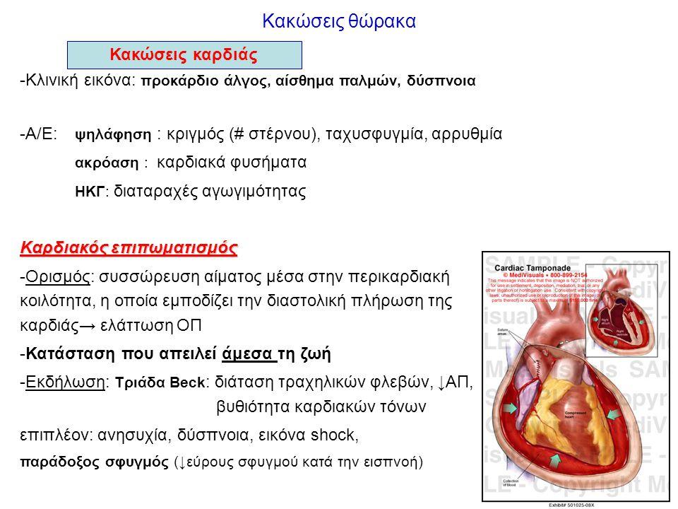 Κακώσεις θώρακα Κακώσεις καρδιάς -Κλινική εικόνα: προκάρδιο άλγος, αίσθημα παλμών, δύσπνοια -Α/Ε: ψηλάφηση : κριγμός (# στέρνου), ταχυσφυγμία, αρρυθμί