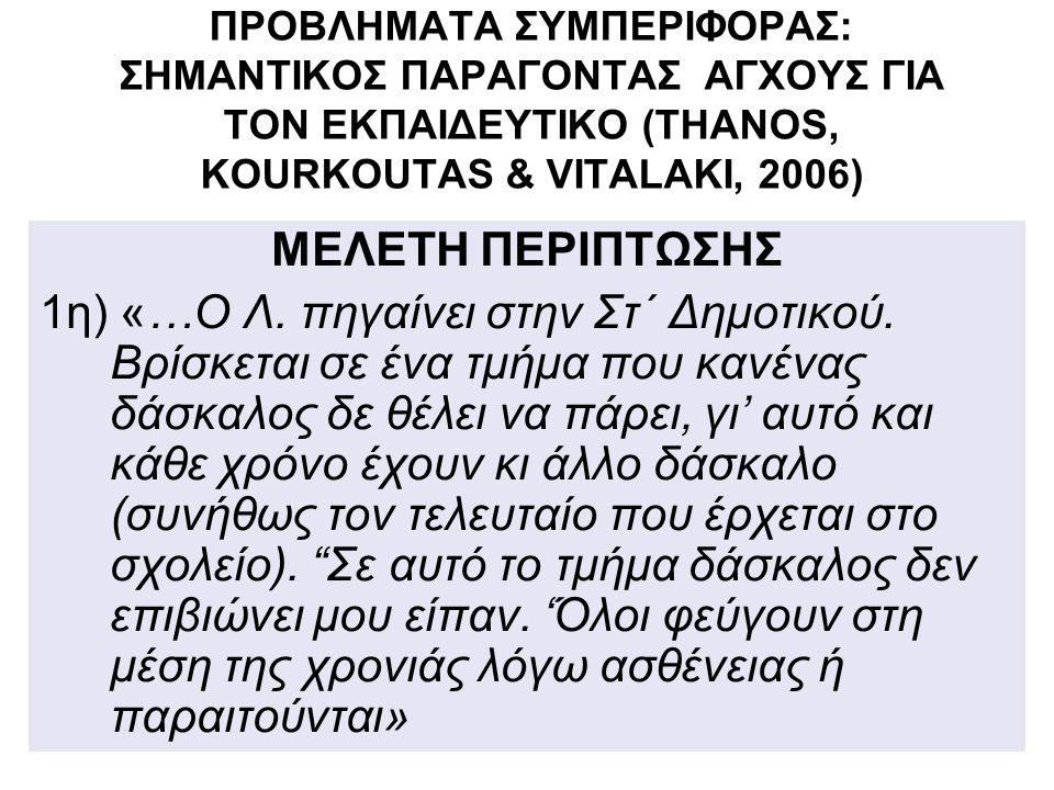 ΠΡΟΒΛΗΜΑΤΑ ΣΥΜΠΕΡΙΦΟΡΑΣ: ΣΗΜΑΝΤΙΚΟΣ ΠΑΡΑΓΟΝΤΑΣ ΑΓΧΟΥΣ ΓΙΑ ΤΟΝ ΕΚΠΑΙΔΕΥΤΙΚΟ (THANOS, KOURKOUTAS & VITALAKI, 2006) ΜΕΛΕΤΗ ΠΕΡΙΠΤΩΣΗΣ 1η) «…Ο Λ.