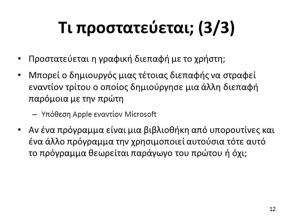 Τι προστατεύεται; (3/3) Προστατεύεται η γραφική διεπαφή με το χρήστη; Μπορεί ο δημιουργός μιας τέτοιας διεπαφής να στραφεί εναντίον τρίτου ο οποίος δη