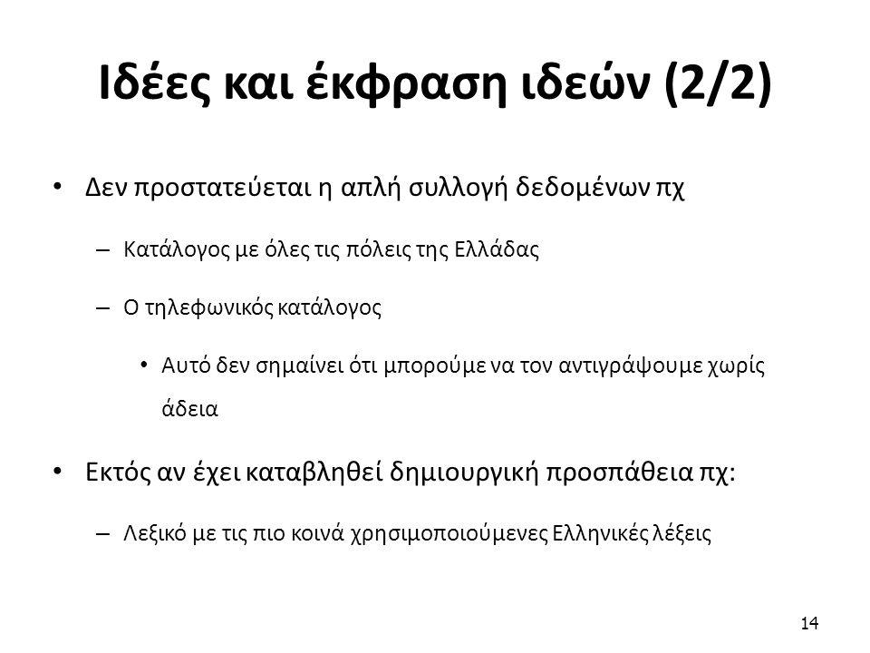Ιδέες και έκφραση ιδεών (2/2) Δεν προστατεύεται η απλή συλλογή δεδομένων πχ – Κατάλογος με όλες τις πόλεις της Ελλάδας – Ο τηλεφωνικός κατάλογος Αυτό