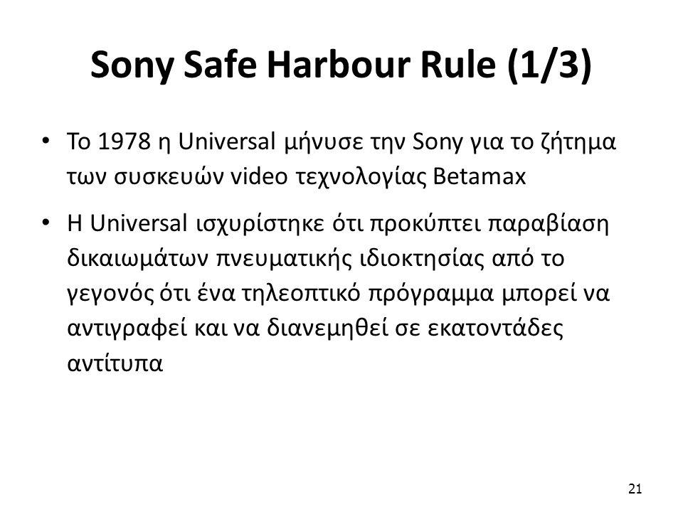 Sony Safe Harbour Rule (1/3) To 1978 η Universal μήνυσε την Sony για το ζήτημα των συσκευών video τεχνολογίας Betamax Η Universal ισχυρίστηκε ότι προκ