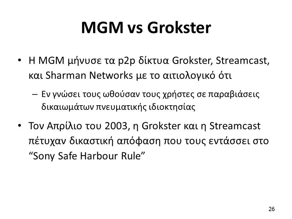 Η MGM μήνυσε τα p2p δίκτυα Grokster, Streamcast, και Sharman Networks με το αιτιολογικό ότι – Εν γνώσει τους ωθούσαν τους χρήστες σε παραβιάσεις δικαι