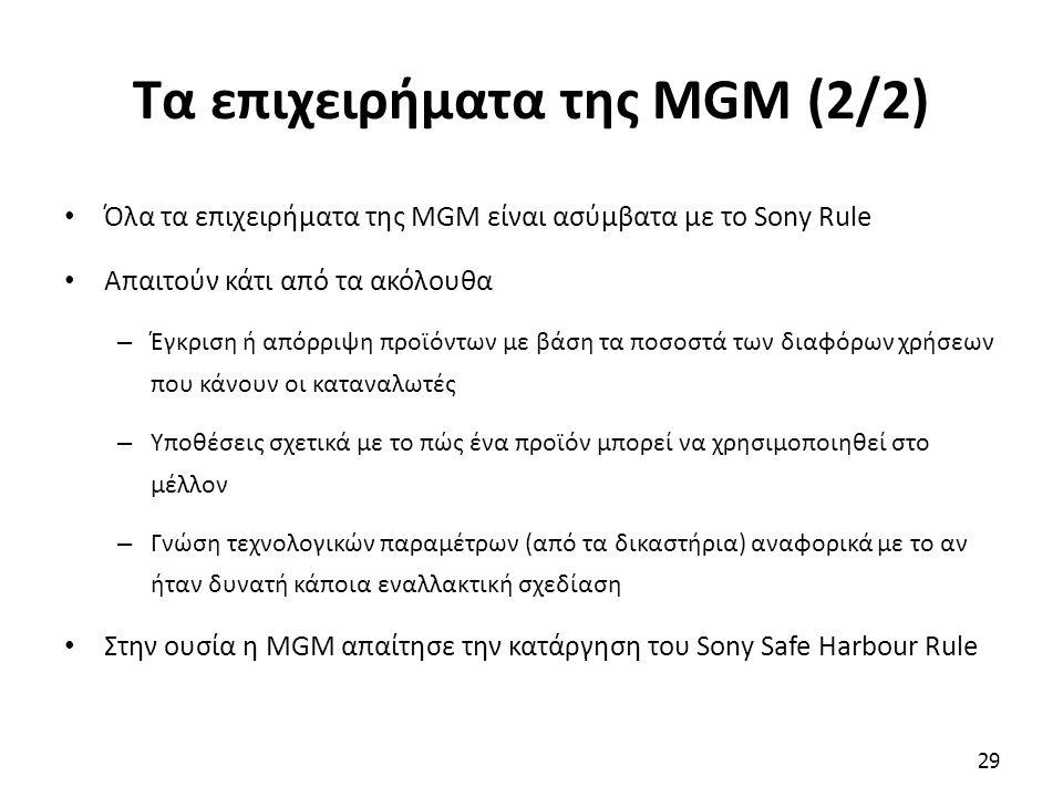 Τα επιχειρήματα της MGM (2/2) Όλα τα επιχειρήματα της MGM είναι ασύμβατα με το Sony Rule Απαιτούν κάτι από τα ακόλουθα – Έγκριση ή απόρριψη προϊόντων