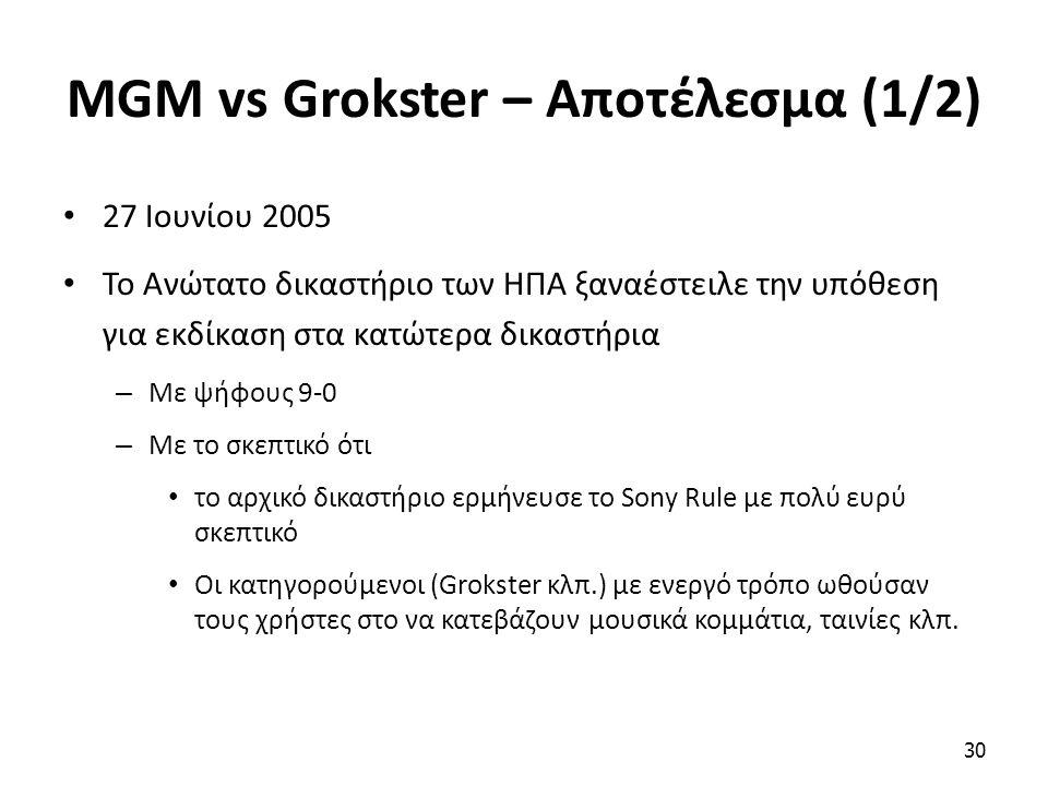 MGM vs Grokster – Αποτέλεσμα (1/2) 27 Ιουνίου 2005 Το Ανώτατο δικαστήριο των ΗΠΑ ξαναέστειλε την υπόθεση για εκδίκαση στα κατώτερα δικαστήρια – Με ψήφ