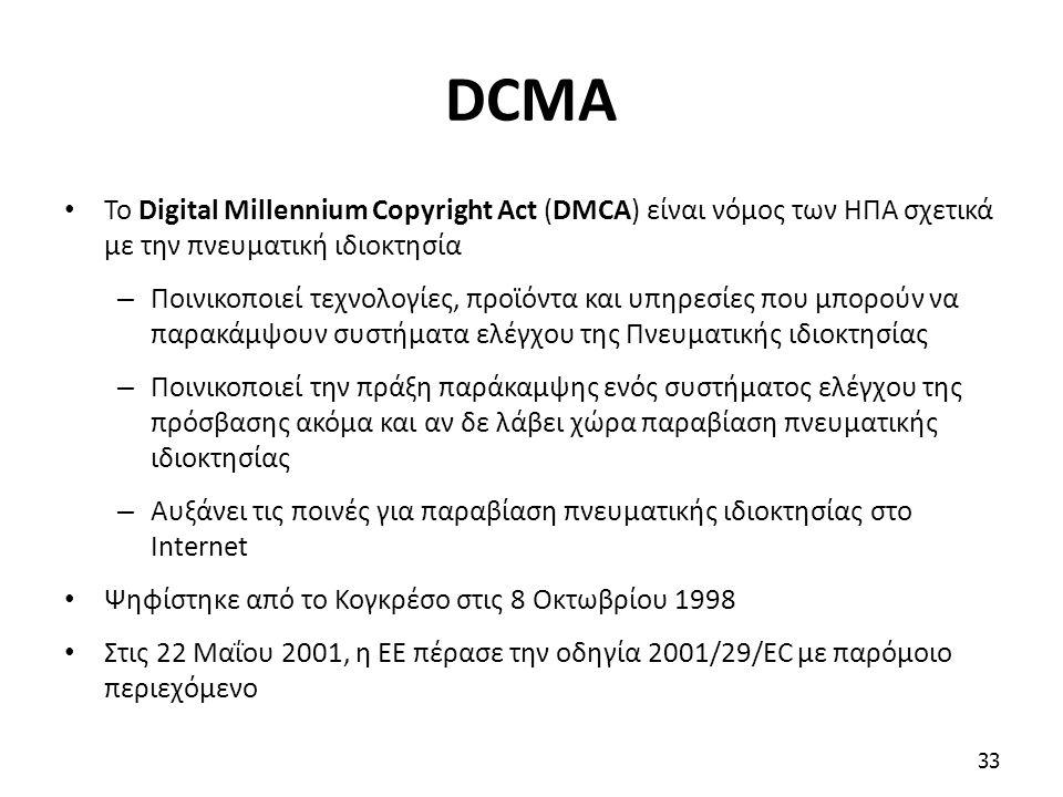 DCMA Το Digital Millennium Copyright Act (DMCA) είναι νόμος των ΗΠΑ σχετικά με την πνευματική ιδιοκτησία – Ποινικοποιεί τεχνολογίες, προϊόντα και υπηρ