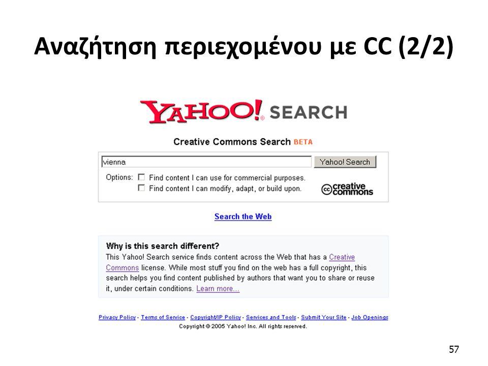 Αναζήτηση περιεχομένου με CC (2/2) 57