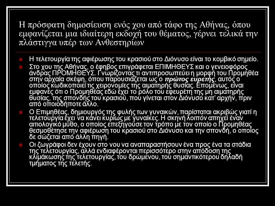 Η πρόσφατη δημοσίευση ενός χου από τάφο της Αθήνας, όπου εμφανίζεται μια ιδιαίτερη εκδοχή του θέματος, γέρνει τελικά την πλάστιγγα υπέρ των Ανθεστηρίω