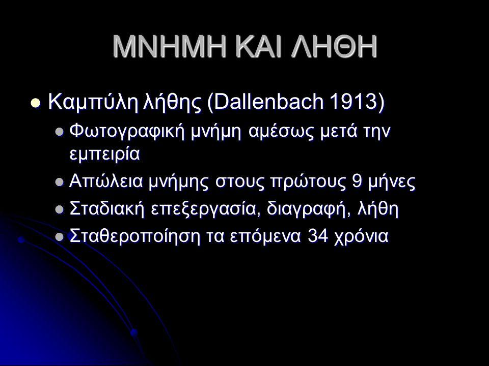 ΜΝΗΜΗ ΚΑΙ ΛΗΘΗ Καμπύλη λήθης (Dallenbach 1913) Καμπύλη λήθης (Dallenbach 1913) Φωτογραφική μνήμη αμέσως μετά την εμπειρία Φωτογραφική μνήμη αμέσως μετ
