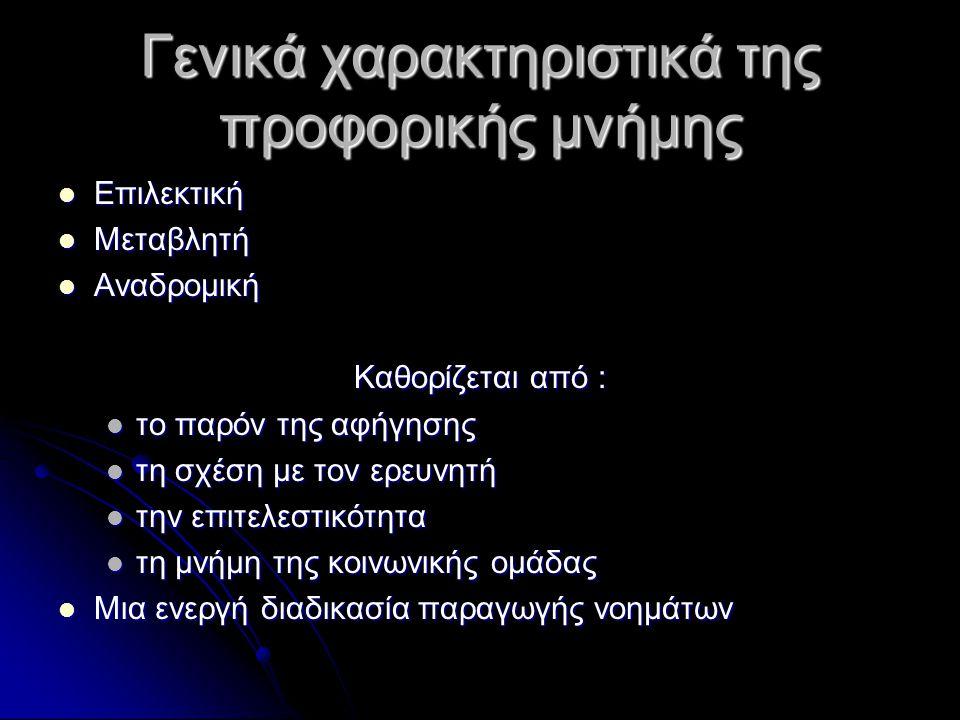 ΔΙΑΚΡΙΣΗ ΕΙΔΩΝ ΜΝΗΜΗΣ Κοινωνικές επιστήμες Προσωπική μνήμη (personal memory) Προσωπική μνήμη (personal memory) Γνωστική μνήμη (cognitive memory) Γνωστική μνήμη (cognitive memory) Μνήμη-συνήθεια (habit-memory) Μνήμη-συνήθεια (habit-memory) Paul Connerton, How Societies Remember, 1989: 22-25 Paul Connerton, How Societies Remember, 1989: 22-25