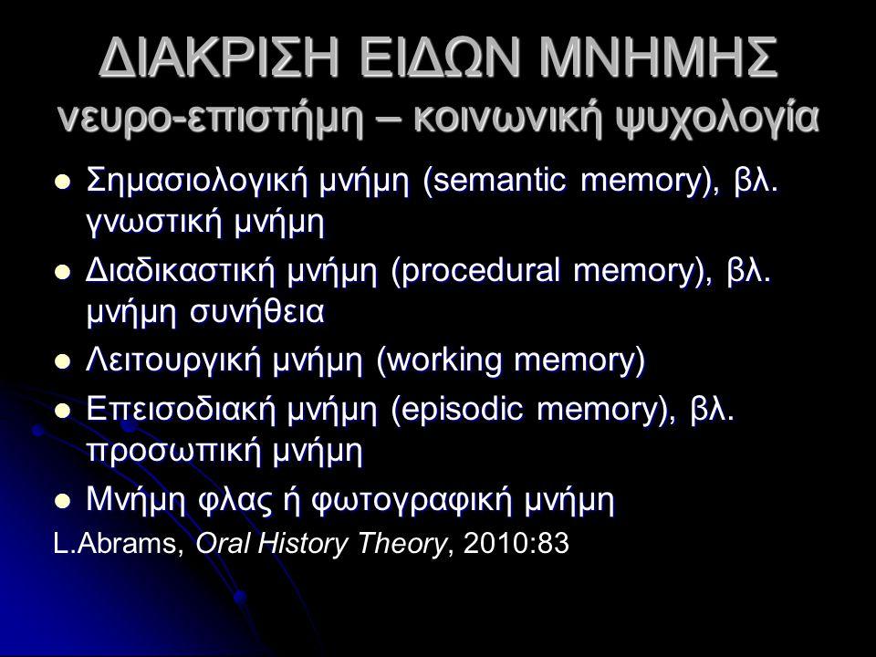 ΔΙΑΚΡΙΣΗ ΕΙΔΩΝ ΜΝΗΜΗΣ νευρο-επιστήμη – κοινωνική ψυχολογία Σημασιολογική μνήμη (semantic memory), βλ. γνωστική μνήμη Σημασιολογική μνήμη (semantic mem