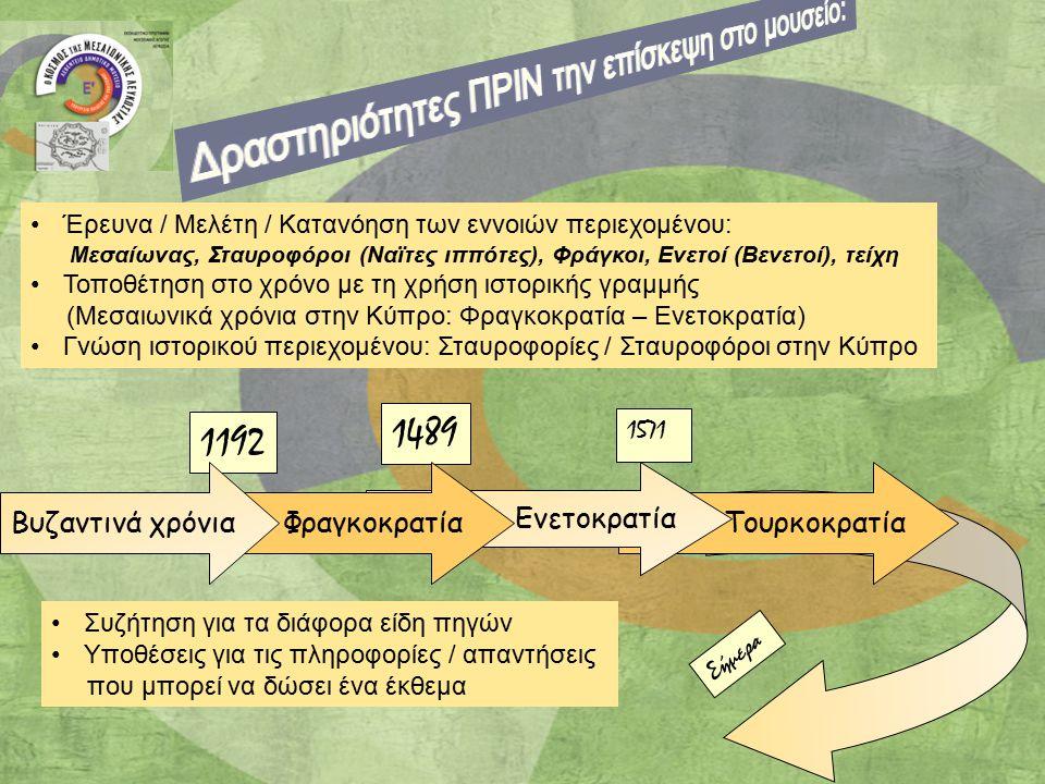 1192 1489 1571 Τουρκοκρατία Ενετοκρατία ΦραγκοκρατίαΒυζαντινά χρόνια Σήμερα Έρευνα / Μελέτη / Κατανόηση των εννοιών περιεχομένου: Μεσαίωνας, Σταυροφόρ